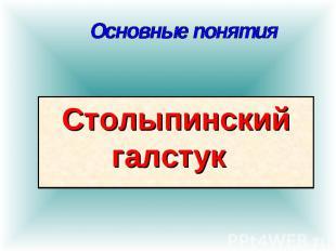 Основные понятия Столыпинский галстук