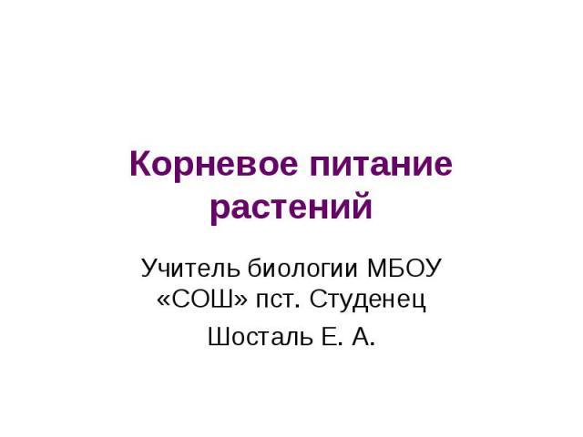 Корневое питание растений Учитель биологии МБОУ «СОШ» пст. Студенец Шосталь Е. А.