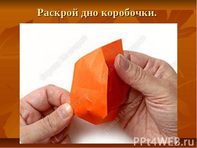 Раскрой дно коробочки.