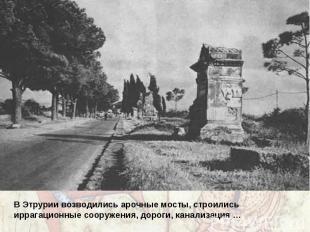 В Этрурии возводились арочные мосты, строились иррагационные сооружения, дороги,