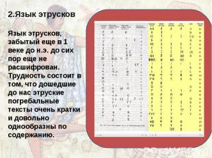 2.Язык этрусков Язык этрусков, забытый еще в 1 веке до н.э. до сих пор еще не ра