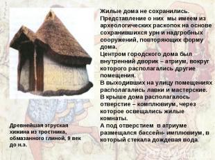 Жилые дома не сохранились. Представление о них мы имеем из археологических раско
