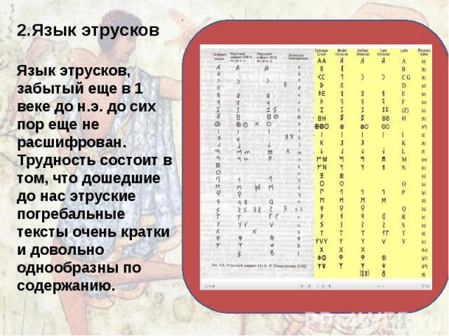 2.Язык этрусков Язык этрусков, забытый еще в 1 веке до н.э. до сих пор еще не расшифрован. Трудность состоит в том, что дошедшие до нас этруские погребальные тексты очень кратки и довольно однообразны по содержанию.