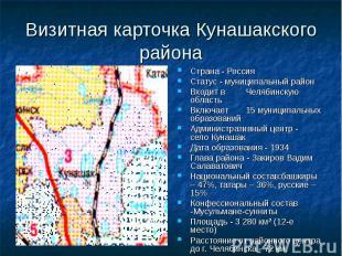 Визитная карточка Кунашакского района Страна - Россия Статус - муниципальный рай