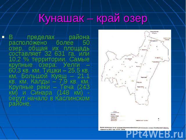Кунашак – край озер В пределах района расположено более 50 озер, общая их площадь составляет 32 631 га, или 10,2 % территории. Самые крупные озера: Уелги – 60,3 кв. км, Тишки – 25,5 кв. км, Большой Куяш – 21,1 кв. км, Калды – 7,9 кв. км. Крупные рек…
