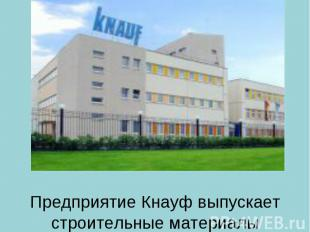 Предприятие Кнауф выпускает строительные материалы