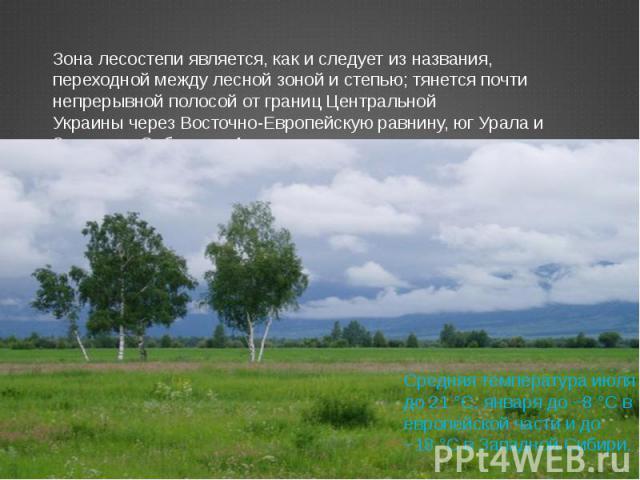 Зона лесостепи является, как и следует из названия, переходной между лесной зоной и степью; тянется почти непрерывной полосой от границЦентральной УкраинычерезВосточно-Европейскую равнину, юг Урала и Западную Сибирь до Алтая. Средняя температура …