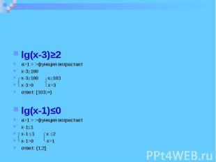 lg(x-3)≥2 a>1 = >функция возрастает x-3≥100 x-3≥100 x≥103 x-3>0 x>3 ответ: [103;