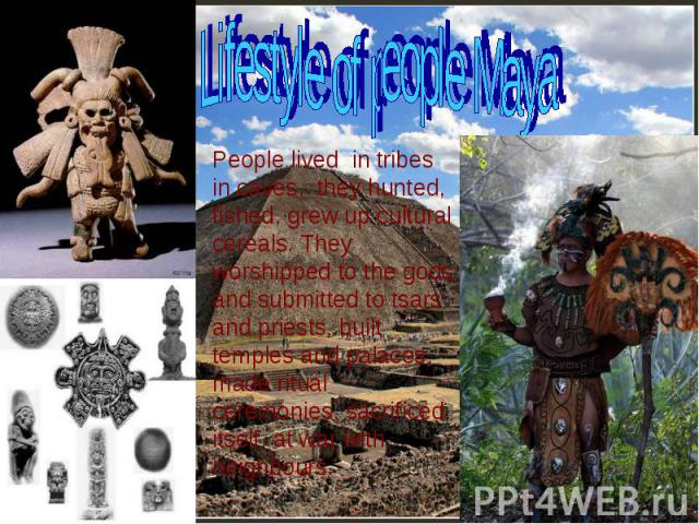 Lifestyle of people Maya People lived in tribes in caves, they hunted, fished, grew up cultural cereals. They worshipped to the gods and submitted to tsars and priests, built temples and palaces, made ritual ceremonies, sacrificed itself, at war wit…