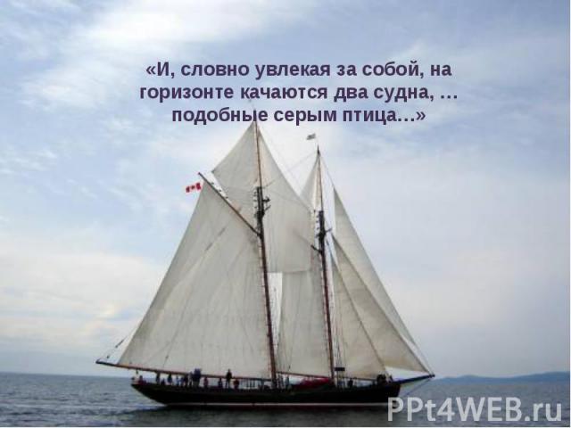 «И, словно увлекая за собой, на горизонте качаются два судна, … подобные серым птица…»