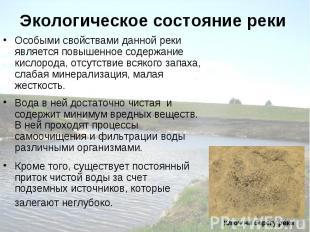 Экологическое состояние реки Особыми свойствами данной реки является повышенное