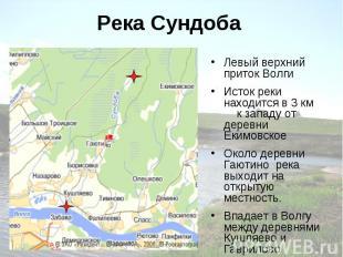 Река Сундоба Левый верхний приток Волги Исток реки находится в 3 км к западу от