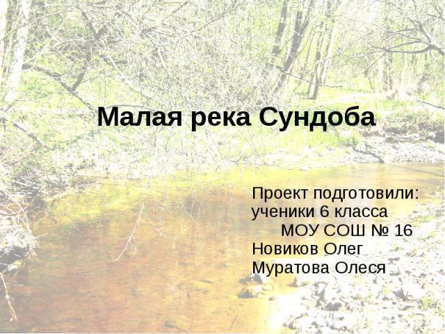 Малая река Сундоба Проект подготовили: ученики 6 класса МОУ СОШ № 16 Новиков Олег Муратова Олеся