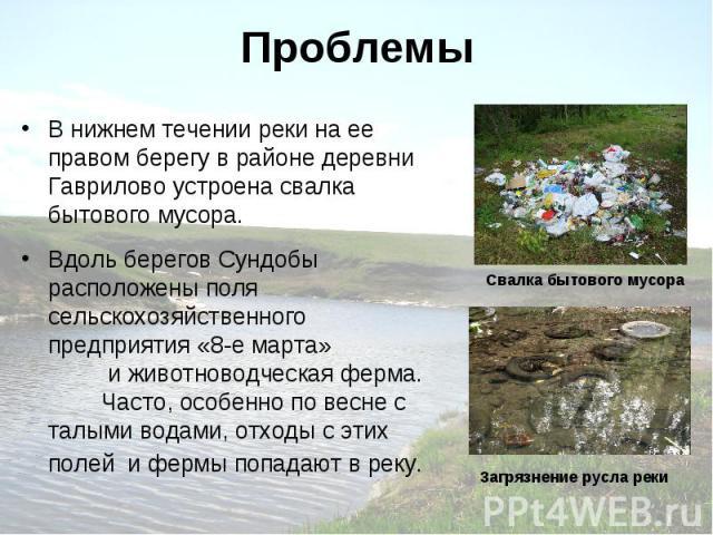 Проблемы В нижнем течении реки на ее правом берегу в районе деревни Гаврилово устроена свалка бытового мусора. Вдоль берегов Сундобы расположены поля сельскохозяйственного предприятия «8-е марта» и животноводческая ферма. Часто, особенно по весне с …