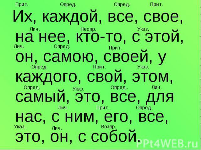 Их, каждой, все, свое, на нее, кто-то, с этой, он, самою, своей, у каждого, свой, этом, самый, это, все, для нас, с ним, его, все, это, он, с собой.