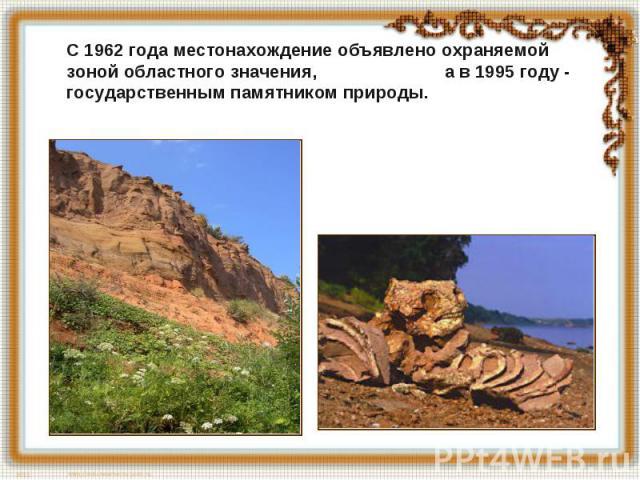 С 1962 года местонахождение объявлено охраняемой зоной областного значения, а в 1995 году - государственным памятником природы.
