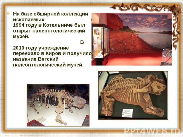 На базе обширной коллекции ископаемых в 1994 году в Котельниче был открыт палеонтологический музей. В 2010 году учреждение переехало в Киров и получило название Вятский палеонтологический музей.