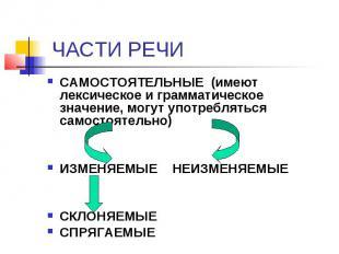 ЧАСТИ РЕЧИ САМОСТОЯТЕЛЬНЫЕ (имеют лексическое и грамматическое значение, могут у