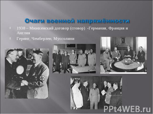 Очаги военной напряжённости 1938 – Мюнхенский договор (сговор) -Германия, Франция и Англия Геринг, Чемберлен, Муссолини