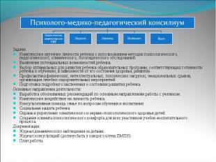 Психолого-медико-педагогический консилиум Задачи: Комплексное изучение личности