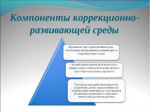 Компоненты коррекционно-развивающей среды Предметно-пространственная среда, обес