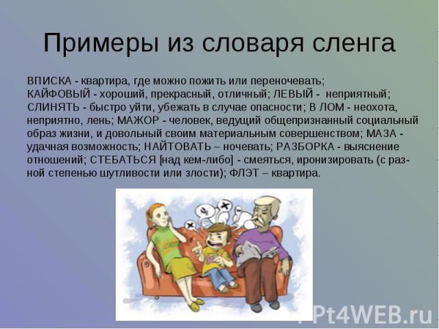 Примеры из словаря сленга ВПИСКА - квартира, где можно пожить или переночевать; КАЙФОВЫЙ - хороший, прекрасный, отличный; ЛЕВЫЙ - неприятный; СЛИНЯТЬ - быстро уйти, убежать в случае опасности; В ЛОМ - неохота, неприятно, лень; МАЖОР - человек, веду…