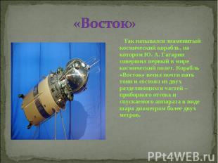 «Восток» Так назывался знаменитый космический корабль, на котором Ю. А. Гагарин