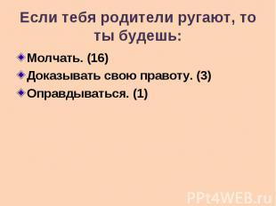 Если тебя родители ругают, то ты будешь: Молчать. (16) Доказывать свою правоту.
