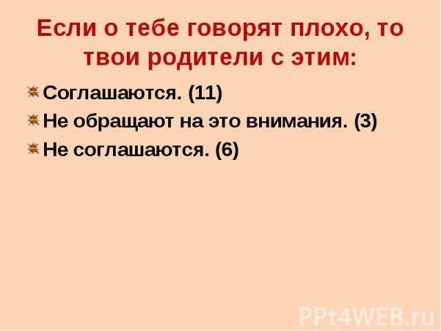 Если о тебе говорят плохо, то твои родители с этим: Соглашаются. (11) Не обращают на это внимания. (3) Не соглашаются. (6)