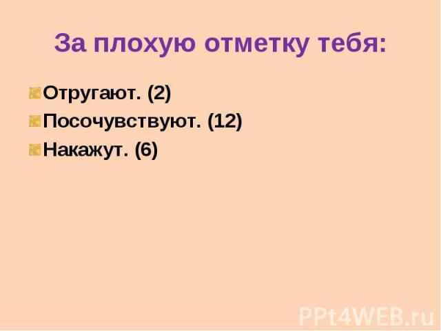 За плохую отметку тебя: Отругают. (2) Посочувствуют. (12) Накажут. (6)
