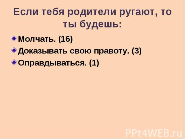 Если тебя родители ругают, то ты будешь: Молчать. (16) Доказывать свою правоту. (3) Оправдываться. (1)