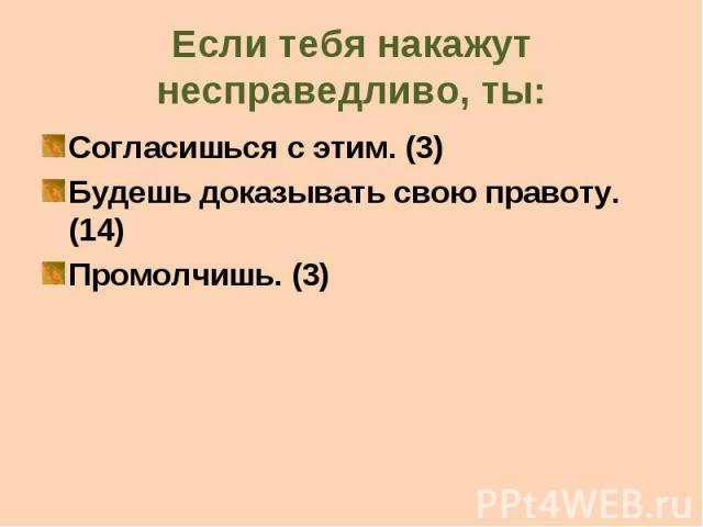 Если тебя накажут несправедливо, ты: Согласишься с этим. (3) Будешь доказывать свою правоту. (14) Промолчишь. (3)