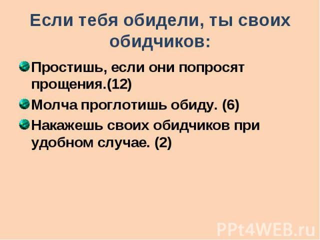 Если тебя обидели, ты своих обидчиков: Простишь, если они попросят прощения.(12) Молча проглотишь обиду. (6) Накажешь своих обидчиков при удобном случае. (2)