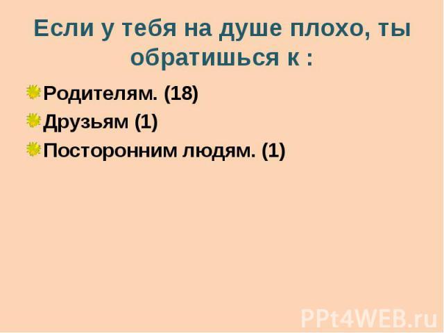 Если у тебя на душе плохо, ты обратишься к : Родителям. (18) Друзьям (1) Посторонним людям. (1)