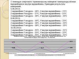 С помощью спиртового термометра мы измерили температуру вблизи муравейника и вну