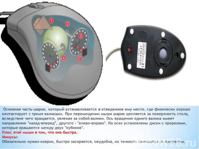 Основная часть-шарик, который устанавливается в отведенное ему место, где физически хорошо контактирует с тремя валиками. При перемещении мыши шарик цепляется за поверхность стола, вследствие чего вращается, увлекая за собой валики. Ось вращения одн…