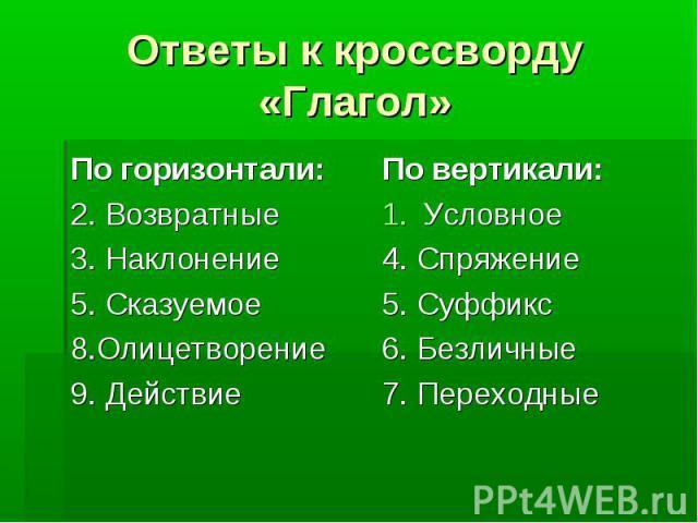 Ответы к кроссворду «Глагол»По горизонтали: 2. Возвратные 3. Наклонение 5. Сказуемое 8.Олицетворение 9. Действие По вертикали: Условное 4. Спряжение 5. Суффикс 6. Безличные 7. Переходные