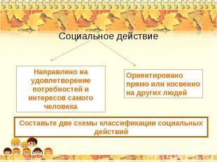 Социальное действие Направлено на удовлетворение потребностей и интересов самого