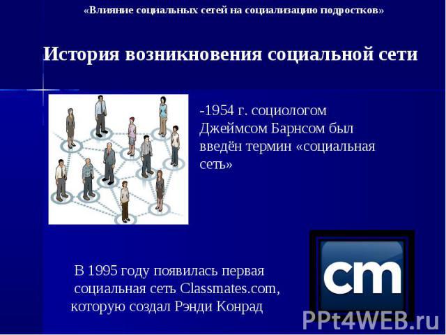 История возникновения социальной сети -1954 г. социологом Джеймсом Барнсом был введён термин «социальная сеть» В 1995 году появилась первая социальная сеть Classmates.com, которую создал Рэнди Конрад