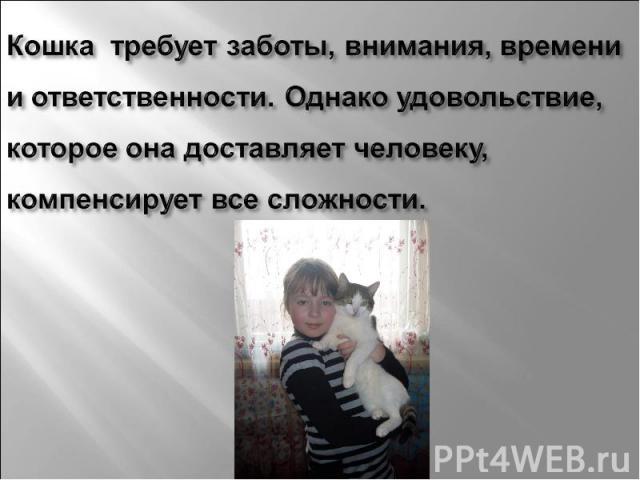 Кошка требует заботы, внимания, времени и ответственности. Однако удовольствие, которое она доставляет человеку, компенсирует все сложности.