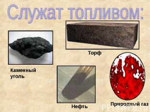 Служат топливом: Каменный уголь Торф Нефть Природный газ