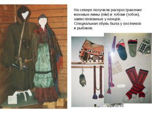 На севере получили распространение меховые пимы (пiм) и тобоки (тoбoк), заимство