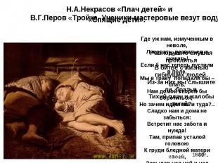 Н.А.Некрасов «Плач детей» и В.Г.Перов «Тройка. Ученики-мастеровые везут воду» Гд