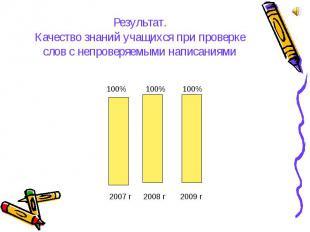 Результат. Качество знаний учащихся при проверке слов с непроверяемыми написания