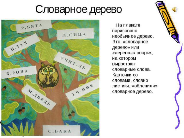 Словарное дерево На плакате нарисовано необычное дерево. Это «словарное дерево» или «дерево-словарь», на котором вырастают словарные слова. Карточки со словами, словно листики, «облепили» словарное дерево.