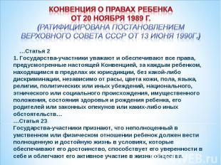 Конвенция о правах ребенка от 20 ноября 1989 г. (Ратифицирована постановлением В
