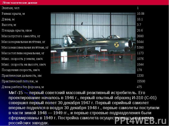 МиГ-15 — первый советский массовый реактивный истребитель. Его проектирование началось в 1946 г., первый опытный образец И-310 (С-01) совершил первый полет 30 декабря 1947 г. Первый серийный самолет впервые поднялся в воздух 30 декабря 1948 г., перв…