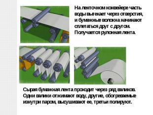 На ленточном конвейере часть воды вытекает через отверстия, и бумажные волокна н