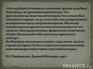 «Нет надобности говорить о значении городов, подобных Новгороду, с их древними п