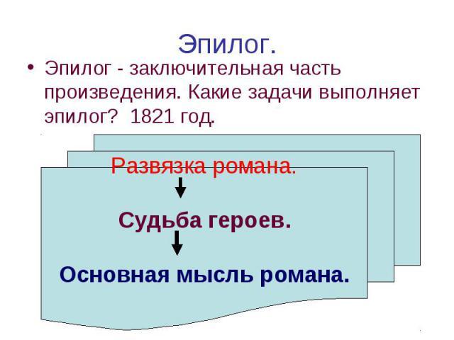 Эпилог. Эпилог - заключительная часть произведения. Какие задачи выполняет эпилог? 1821 год. Развязка романа. Судьба героев. Основная мысль романа.